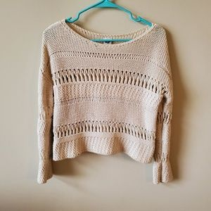 NSF Crochet Knit Cropped Ivory Sweater
